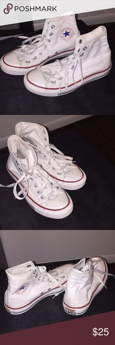 White Converse Chuck Taylor High Tops - Size 7 White Converse Chuck Taylor High Tops - Size women's 7/men's 5 Have had some wear but still look great and very white! Converse Shoes Sneakers
