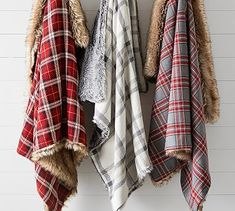 Nottingham Faux Fur Plaid Throws #potterybarn