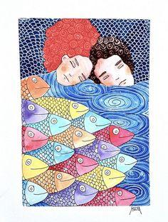{ Fishers of Men } Love Illustration, Watercolor Illustration, Watercolor Art, Estilo Tropical, Bird Coloring Pages, Les Beatles, Guache, Fish Art, Mural Art