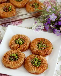 Mussel Dessert / Mussel Baklava - I am adding the recipe for bird eye baklava, upon request. A very crunchy and delicio - East Dessert Recipes, Desert Recipes, Ramadan Desserts, Eid Food, Shellfish Recipes, Turkish Recipes, Ethnic Recipes, Sweet Pastries, Arabic Food
