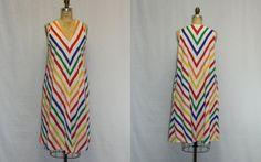 XL Vintage Dress Rainbow Chevron in Primary by SIZEisJUSTaNUMBER, $59.00