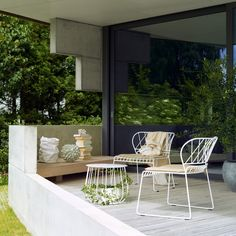 The RESÖ Lounge Table, Straight Bars is made from steel and has an airy style that won't weigh small spaces down. http://www.yliving.com/blog/outdoor-spaces-balcony-retreat/