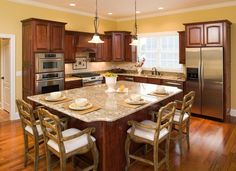Large kitchen island with seating on 2 sides