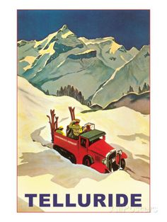 Vintage Travel Poster - Winter Sports - USA -/Sun-Valley-Idaho-Vintage-Truck-with-Skiers Ski Vintage, Vintage Ski Posters, Retro Poster, Vintage Art, Unique Vintage, Vintage Style, Sun Valley Idaho, Livingston, Old Posters