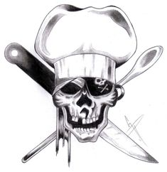 chef pirate skull by deviantbydesign