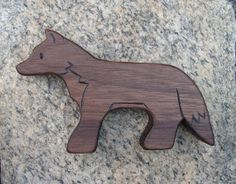 Fox Natural Wood Toy, Walnut - all natural wooden teether for baby, or toddler toy