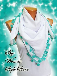 White and teal green Turkish Yemeni OYA Scarf by WomanStyleStore, $34.00