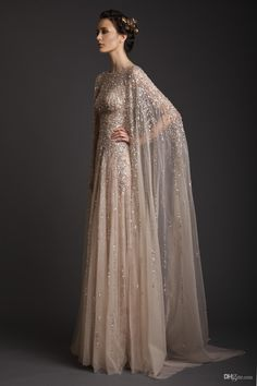 2014 Wedding Dresses A-Line Crew Champagne See-Through Tulle Bridal Gowns Appliques Beads Watteau Evening Dress Krikor Jabotian Prom Gown, $165.86 | DHgate.com