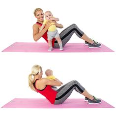Russian Twists: While seated on the floor, hold on to your baby and begin to twist from side-to-side. Complete 3 sets of 15.