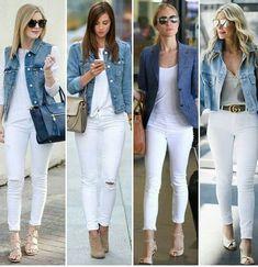 Pantalón blanco y chaqueta denim
