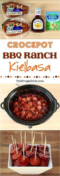 Crockpot BBQ Ranch Kielbasa Recipe! ~ at http://TheFrugalGirls.com ~ this easy Crock Pot Kielbasa is packed with flavor and the perfect party appetizer!