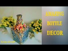 Amazing clay decoration on bottle Wine Bottle Trees, Old Wine Bottles, Recycled Wine Bottles, Glass Bottles, Diy Bottle, Wine Bottle Crafts, Bottle Art, Clay Pot Crafts, Shell Crafts
