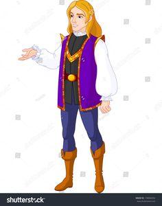 Illustration of Prince Charming presenting. Raster version.