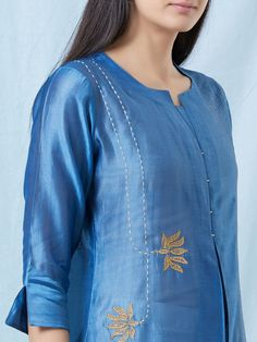 Buy Blue Hand Embroidered Chanderi Cotton Kurta with Off White Cotton Pants and Gold Hand Block Printed Dupatta- Set of 3 Embroidery On Kurtis, Kurti Embroidery Design, Hand Embroidery Dress, Embroidery Suits, Embroidery Fashion, Embroidery Ideas, Dress Neck Designs, Sleeve Designs, Blouse Designs