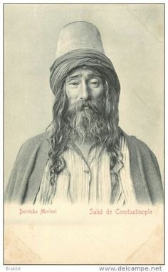 Portrait of a Mevlevi dervish. Istanbul, late 19th century.
