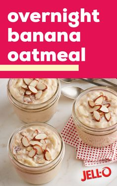 Overnight Banana Oat Overnight Banana Oatmeal Whip up a sweet and simple breakfast dish ahead of time to bring a delicious and effortless twist to your morning. This overnight oatmeal recipe is flavored with banana pudding and a topping of almonds! Breakfast Dishes, Healthy Breakfast Recipes, Brunch Recipes, Healthy Snacks, Vegan Recipes, Dessert Recipes, Cooking Recipes, Desserts, Overnight Oatmeal