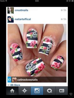 Roses flowers floral nail art