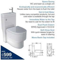 Toilet and sink combo - fantastic for space saving - compact living Toilet Sink, Toilet Room, Sink Toilet Combo, Small Bathroom Sinks, Tiny Bathrooms, Small Toilet, New Toilet, Small Wet Room, Small Space