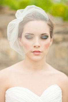 Silk Tulle Veil Blusher Veil Birdcage Veil by MelindaRoseDesign - note waaaay to much makeup