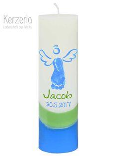 Taufkerzen - Eigener Fußabdruck Taufkerze mit Engel glau-grün - ein Designerstück von Kerzeria bei DaWanda