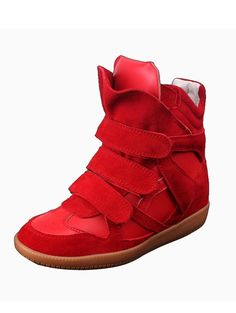 red suede wedge sneakers