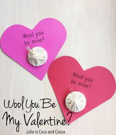 She uses everyday household items as knitting needles and a crochet hook for these 'wool you be mine' valentines. Valentines for the yarn lover in your life. Diy Valentines Cards, Valentine Crafts For Kids, My Funny Valentine, Valentine Box, Valentine Ideas, Yarn Crafts For Kids, Fun Easy Crafts, Valentine's Day Diy, Wool