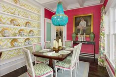This is Jenna's favorite room in her own home. When she built the house, she knew she wanted two things: hot pink grasscloth and this Marjorie Skouras chandelier. Interior: Jenna Buck Gross.  Image: Iran Watson. Read more at www.StyleBlueprint.com