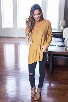V Neck Sweater- Gold - Dottie Couture Boutique