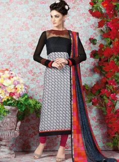 #Black and #White #Printed #Straight #Churidar #Suit Features on french crape fabric top and bottom, printed top with embroidery on yoke and sleeves and matching chiffon soft printed dupatta.