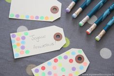 fancy up hanging tags with paint on the bottom of pencils