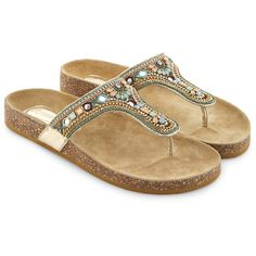 Accessorize Freya Embellished Footbed Flip Flops ($72) ❤ liked on Polyvore featuring shoes, sandals, flip flops, sparkly sandals, beaded sandals, strappy sandals, metallic sandals and metallic strappy sandals