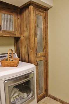CURRENT LEAD TIME: Weeks CUSTOM Rustic Tall Storage - Reclaimed Barn Wood Linen Cabinet w/Tin Doors (Unfinished) Dimensions: High x Deep x Wide 2 Doors (Tin) 4 Adjustable Shelves…More 12 Easy Rustic Kitchen decor you might consider for your kitchen area Farmhouse Laundry Room, Farmhouse Decor, Modern Farmhouse, Laundry Rooms, Farmhouse Style, Small Laundry, Mud Rooms, Laundry Area, Living Rooms