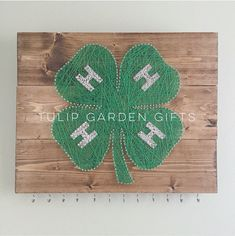 Wooden 4H String Art Ribbon/Medal/Award/Jewelry Hanger by Tulip Garden Gifts