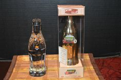 Salt Lake City 2002 Olympic Games Coca-Cola Crystal Paperweight & Gold Bottles  #Cocacola