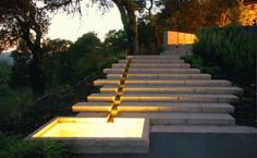 stairs at Villa Vannucci in Sonoma County, CA by VITA Landscape Architects Landscape Stairs, Landscape Architecture Design, Landscape Lighting, Outdoor Lighting, Landscape Architects, Bollard Lighting, Modern Landscaping, Garden Landscaping, Landscaping Software