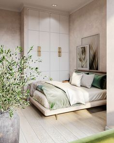 Our interior design studio in Marbella has recently completed new project - small apartment for two, inspired by spring nature. Master Bedroom Interior, Room Design Bedroom, Room Ideas Bedroom, Home Room Design, Home Decor Bedroom, Modern Bedroom, Home Interior Design, Bedroom Signs, Diy Bedroom