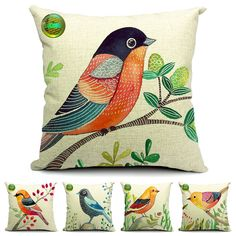 Set 5 Cute Bird Tree Blossom Square Throw Pillow Cushion Cover