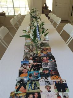 photo table runner (faced towards seats) (copies) Photo Table, Engagement Announcement Photos, Rehearsal Dinner Decorations, Thank You Party, Graduation Open Houses, Funeral Memorial, Fall Decor, Holiday Decor, Steampunk Wedding