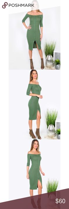 """✨Green Button Front Off The Shoulder Sheath Dress✨ ✨Fabric:Fabric is very stretchy Season:Summer Pattern Type:Plain Sleeve Length:Half Sleeve Color:Green Dresses Length:Knee Length Style:Elegant Material:65% Cotton 30% Polyester 5% Spandex Neckline:Off the Shoulder Silhouette:Sheath Decoration:Button Bust(Cm):M:66cm Waist Size(Cm):M:60cm Hip Size(Cm):M:70cm Length(Cm):M:93.5cm Sleeve Length(Cm):M:33cm Size Available:M Height:175cm/5'9"""" Bust:86cm/34"""" Waist:63cm/25"""" Hip:90cm/35""""…"""