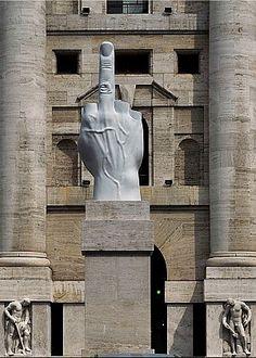 'Il Dito' di Maurizio Cattelan, contro la Borsa di Milano. L'artista ha donato la scultura alla città, se la posizione attuale è rispettata.
