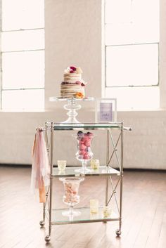 elegant + romantic cake and dessert cart. Photo by Rustic White Photography.