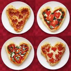 It's Written on the Wall: Heart-Shaped Food for Your Sweetheart on Valentine's Day-Sweet & Savory Personal Pan Heart-Shaped Pizza Valentines Day Pizza, Valentines Day Treats, Valentine Craft, Mini Pizzas, Menu St Valentin, Receita Mini Pizza, Pizza Rapida, Heart Shaped Pizza, Heart Shaped Cookies