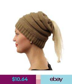 92ea3c2c6de7e Everyday 3 in 1 Open Top Messy Bun Ponytail Stretch Knit Beanie Skull Hat