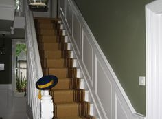 Magnificent Picture Of Home Interior Decoration Using Light Grey Staircase Wall Paint Including Green Painting Paneling And White Staircase Wainscoting Ideas Stair Paneling, Stair Walls, Wood Panel Walls, White Paneling, Wall Panelling, Painted Panelling, Wood Stairs, Wood Paneling, Tiled Hallway