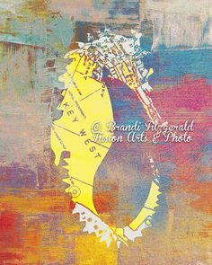 Absolutely LOVE THIS!!   Key West Seahorse Sea Animal Map Beach House by BrandiFitzgerald, $19.99