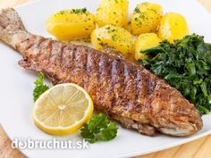Photo about Pan fried trout with potato and spinach. Pan Fried Trout, Grilled Trout, Czech Recipes, Lemon Butter, Fish And Seafood, Food Inspiration, Grilling, Pork, Food And Drink