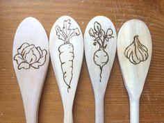 Veggie Wood Spoon wood burned spoon decorative by fleeceandthicket