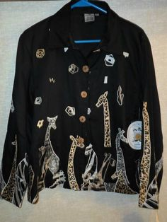Parsley Sage Black Cotton Lined Jacket Artsy Print Giraffes Zebras Small | eBay