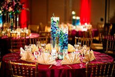 Indian Wedding Blue Floral Centerpieces