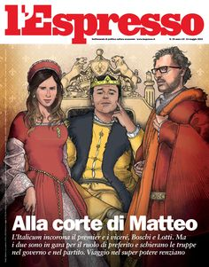Maria Elena Boschi, Minister of Constitutional Reforms and Relations with Parliament and Matteo Renzi, Italian Prime Minister on the Cover of L'Espresso Magazine